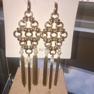 Goldtone and pearl statement earrings, NWT